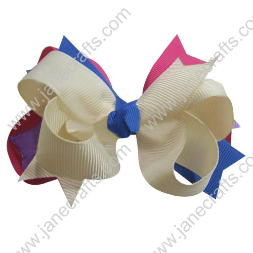 "5.5"" Big Baby Hair Accessories Stacked HairBow Clips in HP Antique White Blue Wholesale 12pcs"