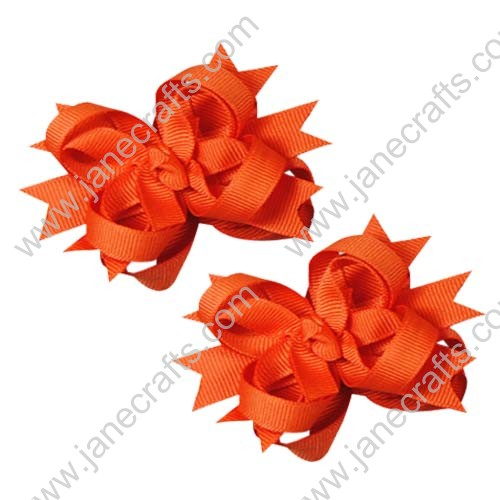 "12PCS 3"" Wholesale Lots Boutique Stacked Toddler Spike Hairbow/Halloween and Fall-Orange"