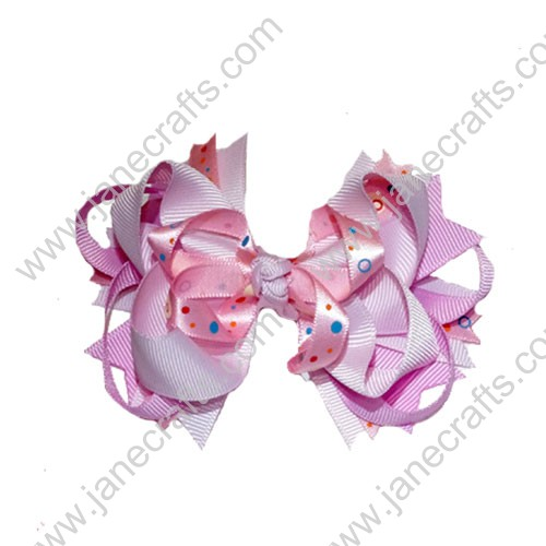 "4"" Funky Solid Spike Hair Bow Clips in Pink and Multi Dots-12pcs"