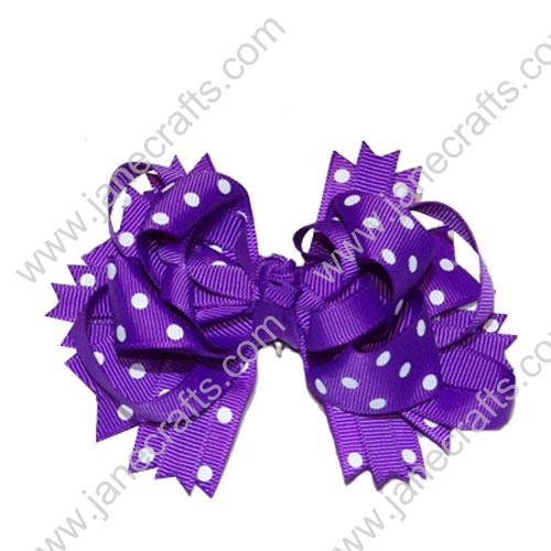 "4"" Funky Solid Spike Hair Bow Clips in Purple with White Polka Dots-12pcs"