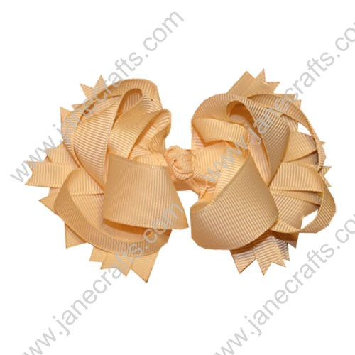 "4"" Funky Solid Spike Hair Bow Clips in Cream-12pcs"