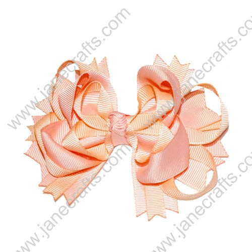 "4"" Funky Solid Spike Hair Bow Clips in Peach-12pcs"
