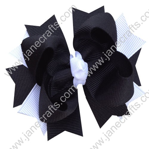 "12PCS 4""Wholesale Lots Layered Spike Baby/Toddler/Girl Hairbows in Black White"