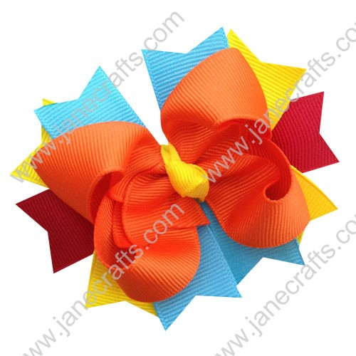 "12PCS 4"" Color full Layered Spike Baby Hairbows in Orange Turquoise Red and Yellow"
