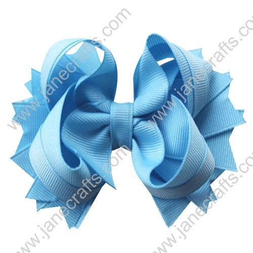 "4.5"" Solid Stacked Spike Baby Toddler Hair Bow Clips in Solid Sky Blue Wholesale Lot-12pcs"
