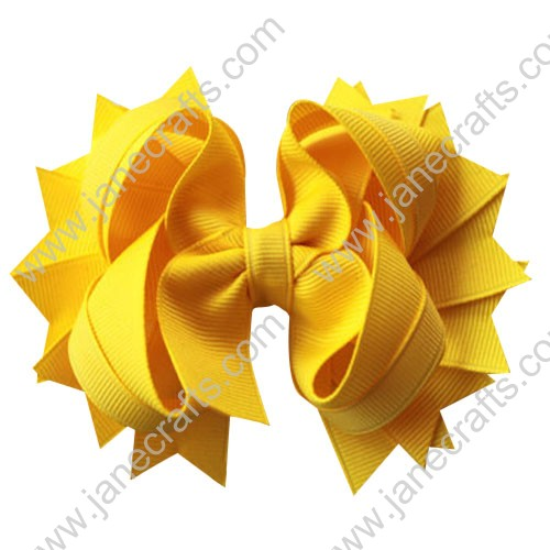"4.5"" Solid Stacked Spike Baby Toddler Hair Bow Clips in Solid Yellow Wholesale Lot-12pcs"
