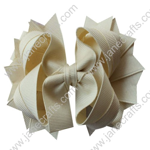 "4.5"" Solid Stacked Spike Baby Toddler Hair Bow Clips in Solid Ivory Cream Wholesale Lot-12pcs"