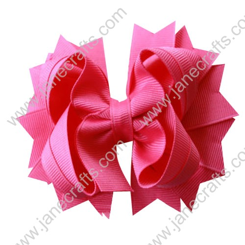 "4.5"" Solid Stacked Spike Baby Toddler Hair Bow Clips in Solid Hot Pink Wholesale Lot-12pcs"