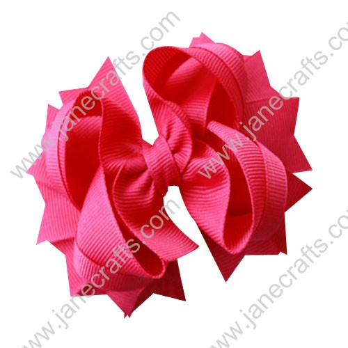 "4.5"" Solid Stacked Spike Baby Toddler Hair Bow Clips in Solid Shocking Pink Wholesale Lot-12pcs"