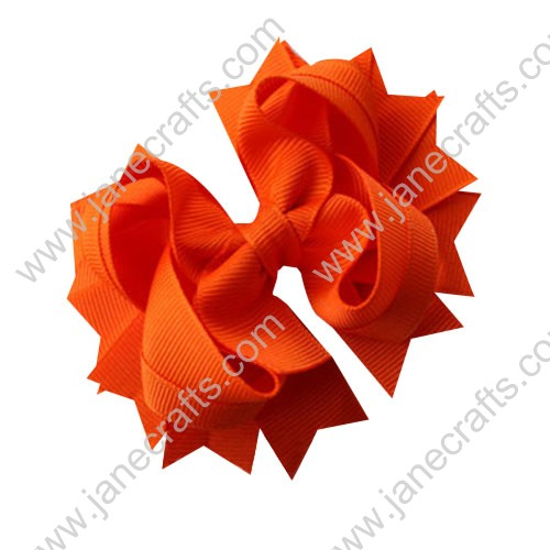 "4.5"" Solid Stacked Spike Baby Toddler Hair Bow Clips in Solid Tangerine Wholesale Lot-12pcs"
