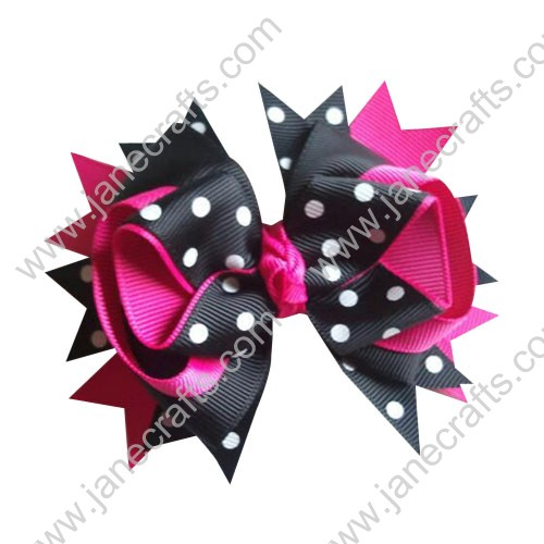 "4.5"" Hot Pink and Black Polka Dot Ready To Rock N Roll Boutique Bow Clips Wholesale Lot-12pcs"