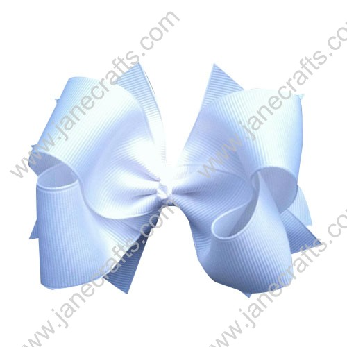 "4"" White Double Layered Boutique Toddler Spike Hair Bow Wholesale Lot-12pcs"