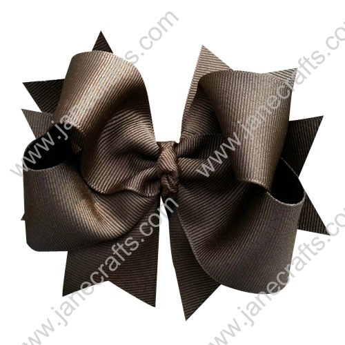 "4"" Brown Double Layered Boutique Toddler Spike Hair Bow Clips Wholesale Lot-12pcs"