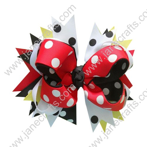 "4.5"" Boutique Layered Spikes Girl Hair Bow in Black Red White Wholesale Lot-12pcs"