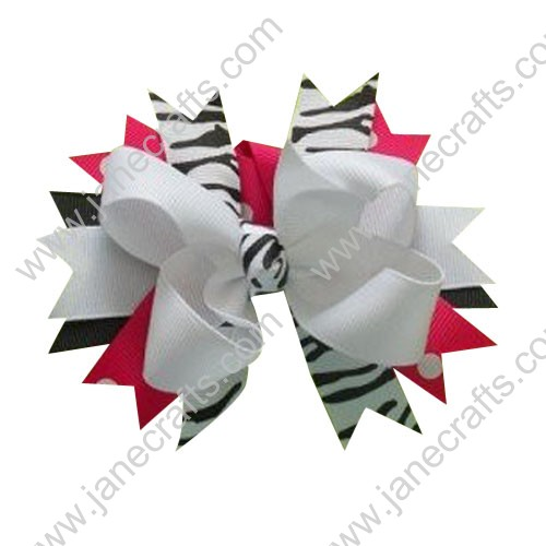 "5"" Boutique Layered Spikes Girl Hair Bow in White Shocking Pink and Zebra Wholesale Lot-12pcs"