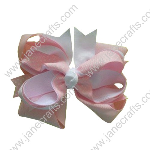 "5"" Boutique Layered Spikes Girl Hair Bow Clips in Pink and White w/Swiss Dot Wholesale Lot-12pcs"