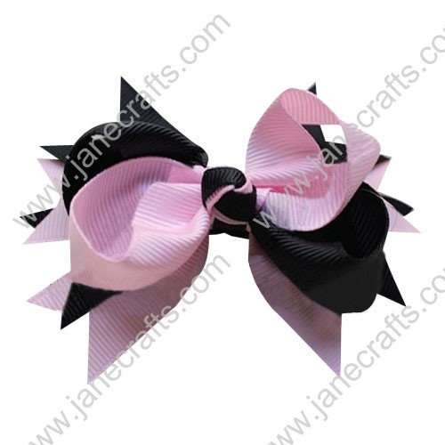 "4"" Large Layered Two Tone Color Spike Hair Bow Clips in Black Pink Wholesale Lot-12pcs"