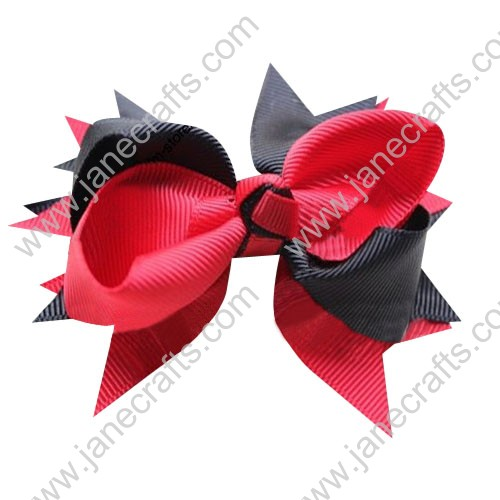 "4"" Large Layered Two Tone Color Mickey Spike Hair Bow Clips in Black Red Wholesale Lot-12pcs"