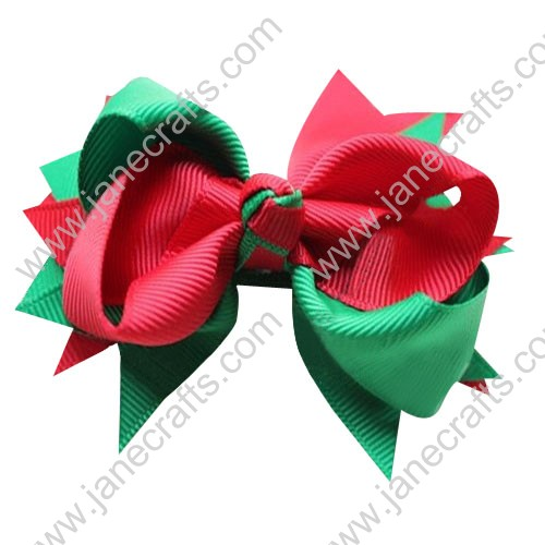"4"" Large Layered Christmas Spike Hair Bow Clips in Red Green Wholesale Lot-12pcs"