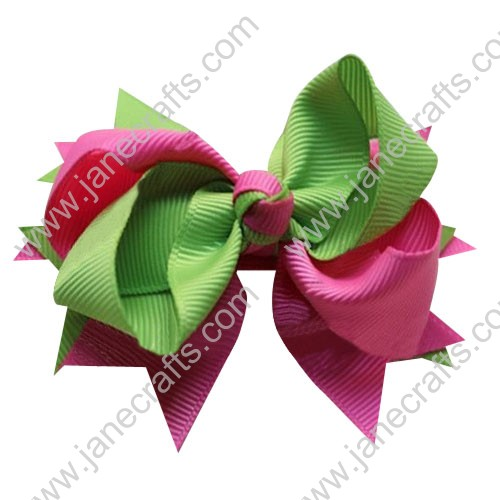 "4"" Large Layered Two Tone Color Spike Hair Bow Clips in Apple green Shocking Pink Wholesale Lot-12pcs"