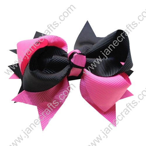 "4"" Large Layered Two Tone Color Spike Hair Bow Clips in Black Hot Pink Wholesale Lot-12pcs"