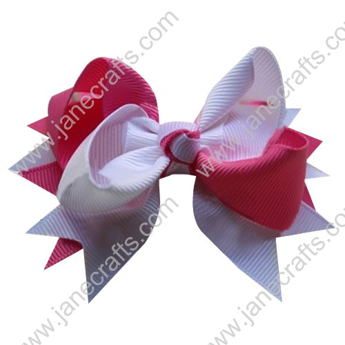 "4"" Large Layered Two Tone Color Spike Hair Bow Clips in White Hot Pink Wholesale Lot-12pcs"
