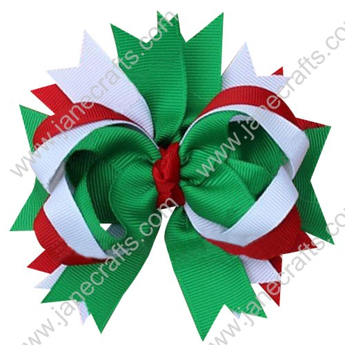 "5"" Large Loopy Layered Christmas Hair Bow Clips in Red White Green Wholesale Lot-12pcs"