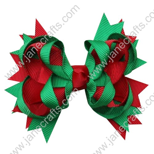 "5"" Large Loopy Layered Christmas Hair Bow Clips in Red Green Wholesale Lot-12pcs"