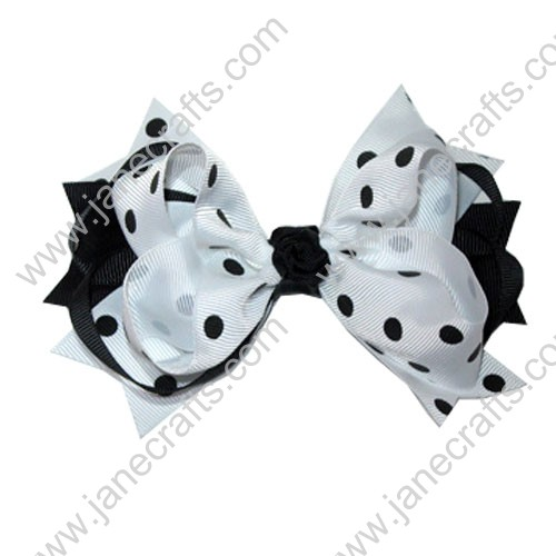 "5.5"" Trendy Big White and Black Polka Dots Spike Hair Bow-12pcs"