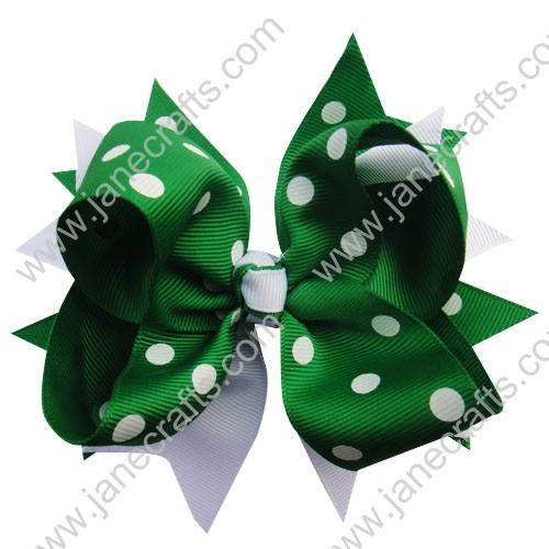 "5.5"" Trendy Big Apple Green and White Polka Dotted Spike Hair Bow Clips-12pcs"