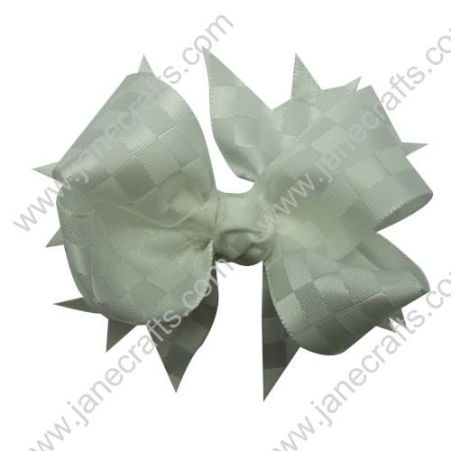 "4.5""Satin Ribbon Spike Bow Clips 30 pcs-White"