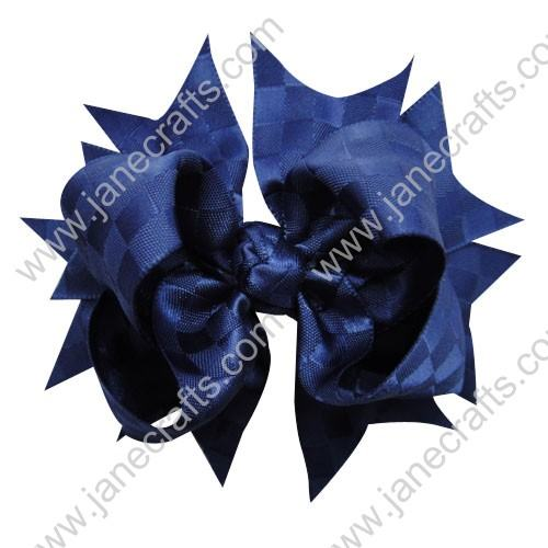 "4.5""Satin Ribbon Spike Bow without Clip 30 pcs-Deep Blue"
