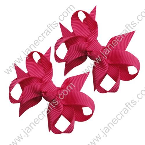 "2 1/4"" DIY Spike Bow without Clip 12 pcs-Shocking Pink"
