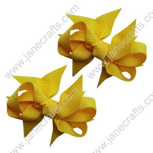 "2 1/4"" DIY Spike Bow without Clip 12 pcs-Yellow Gold"