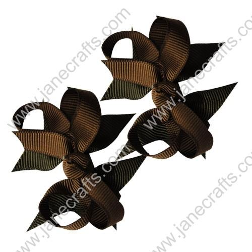 "2 1/4"" DIY Spike Bow without Clip 12 pcs-Brown"
