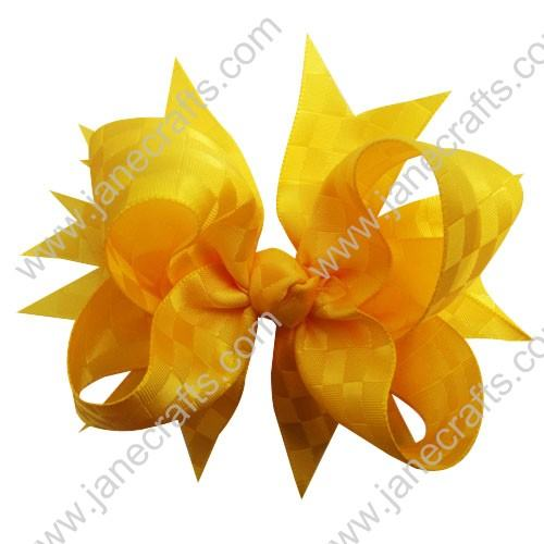 "4.5""Satin Ribbon Spike Bow Clips 30pcs-Yellow Gold"