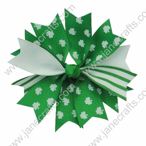 "12pcs 4"" Layered Shamrocks Baby Girl Hair Bows for St. Patrick's Festival Wholesale"