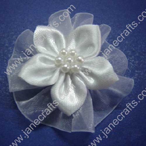 "2 3/4"" Gem Center Satin DIY Flower in White-12pcs"