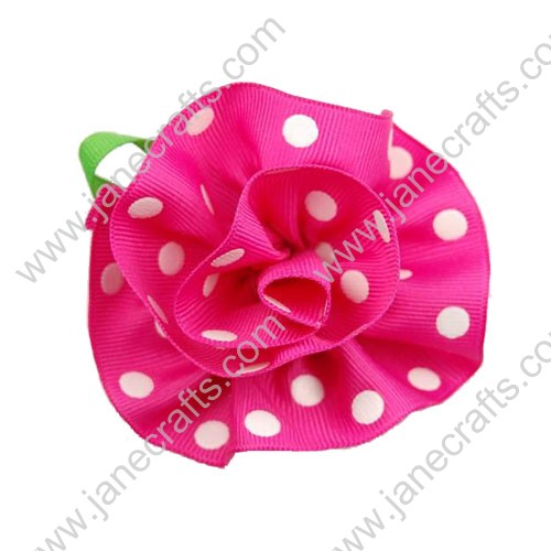 "3"" Grosgrain Ribbon Handmade Flowers Deep Pink/White Polka Dot with Green Leaves-30PCS"