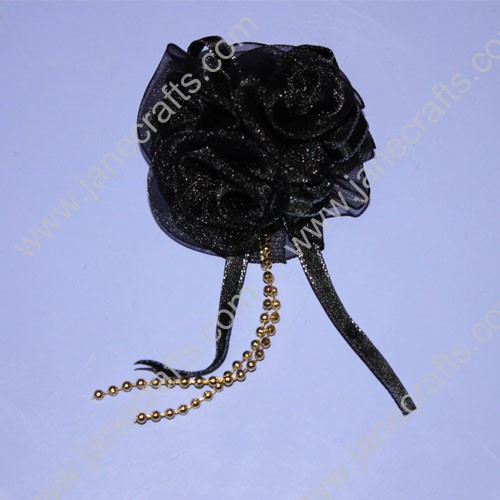 "2"" Organza Black Flowers with long tail made by ribbon and Golden beads-12PCS"