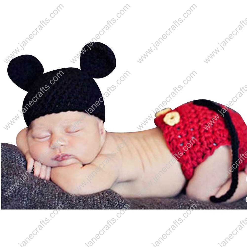 3c9f70ec68c Cute Crochet Mickey Beanie Hat Underwear Set for Baby Infant Photo  Photograph Prop Newborn-
