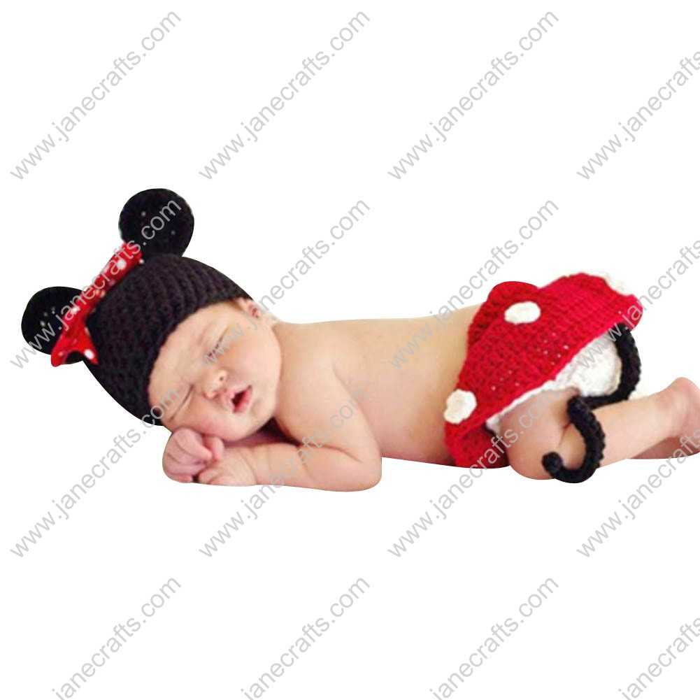 Cute Crochet Mickey Beanie Hat/Skirt Set for Baby Infant Photo Photograph Prop Newborn-6 Month