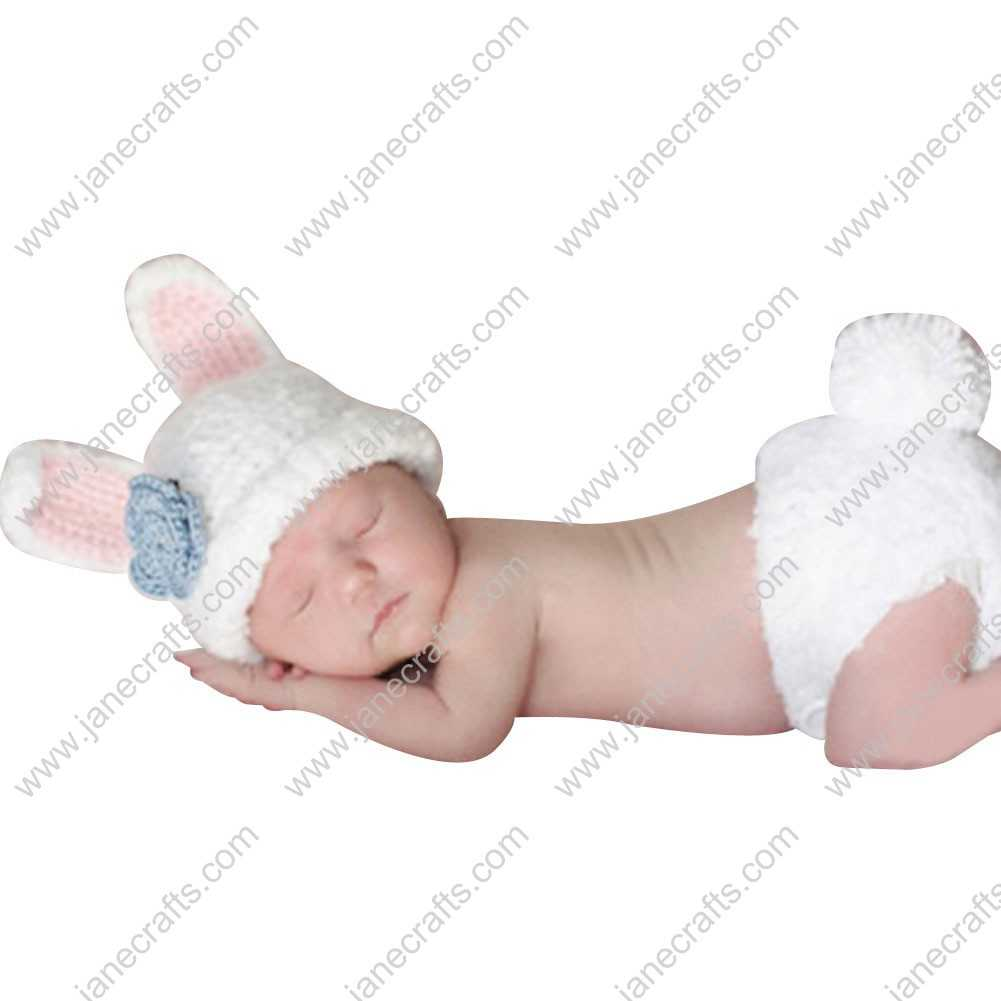 Cute Crochet Cartoon Rabbit Set Beanie Hat/Underwear for Baby Infant Photo Photograph Prop Newborn-6 Month