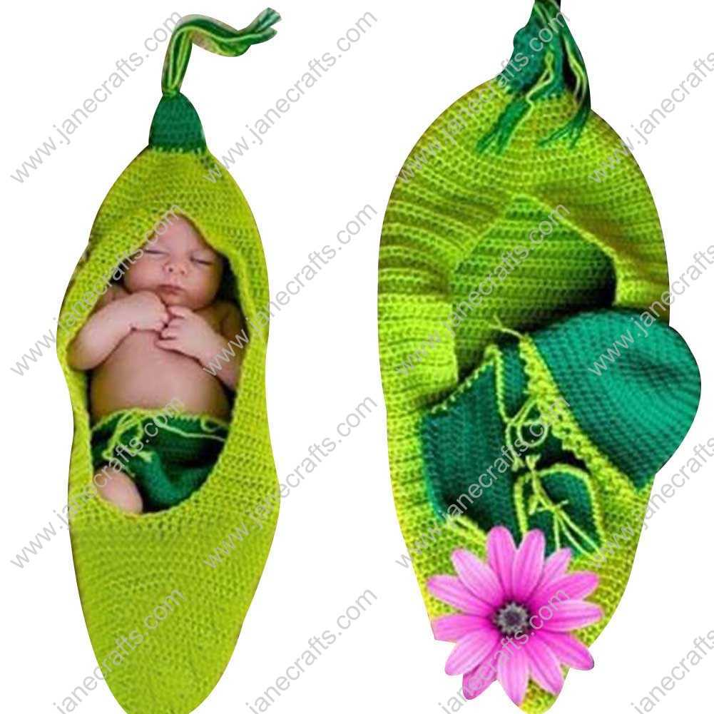 Cute Crochet Green Pea Sleeping Net Bag for Baby Infant Photo Photograph Prop Newborn-6 Month