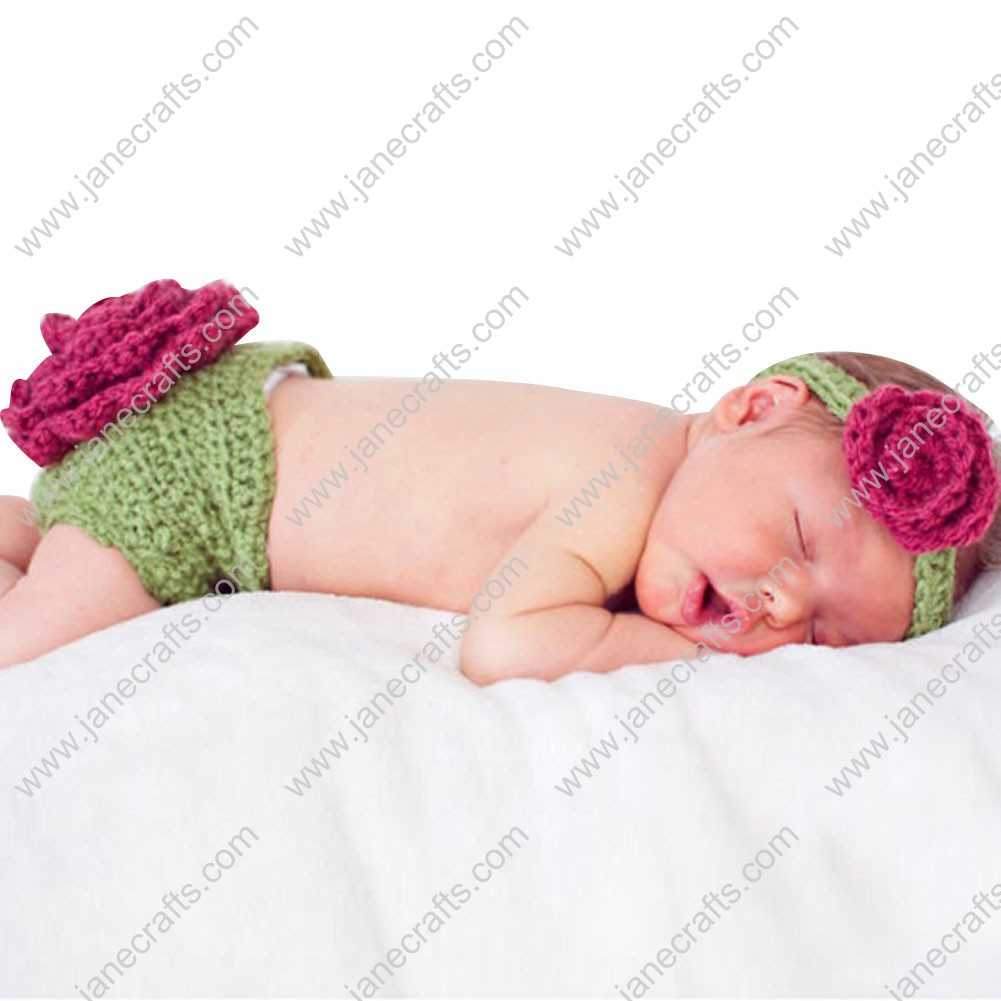 Cute Crochet Big Flower Headband/Underwear Set for Baby Infant Photo Photograph Prop Newborn-6 Month