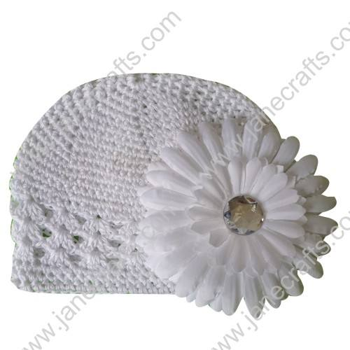 Wholesale 10pcs Handmade Crochet Baby Child Kufi Hat White With Daisy Flower Clip for 0-2