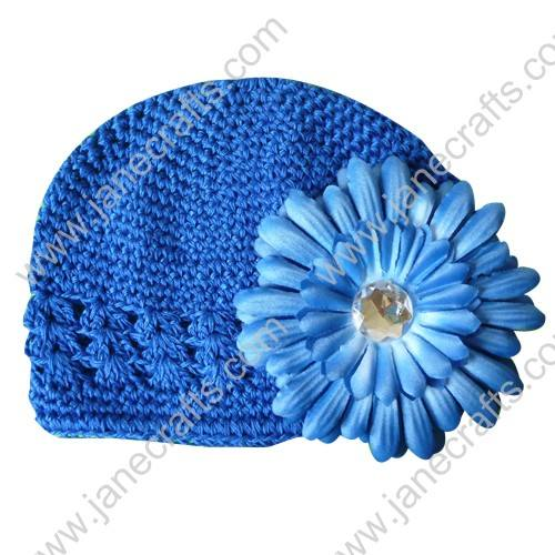 Wholesale 10pcs Handmade Crochet Baby Children Kufi Hat Royal With Daisy Flower Clip for 0-2