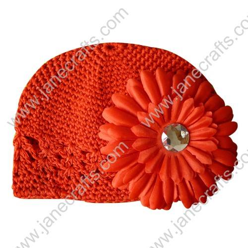 Wholesale 10pcs Handmade Crochet Baby Children Kufi Hat Tangerine With Daisy Flower Clip for 0-2