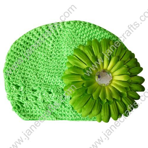 Wholesale 10pcs Handmade Crochet Baby Children Kufi Hat Mint With Daisy Flower Clip for 0-2