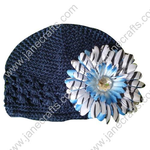Wholesale 10pcs Handmade Crochet Baby Children Kufi Hat Navyy With Daisy Flower Clip for 0-2